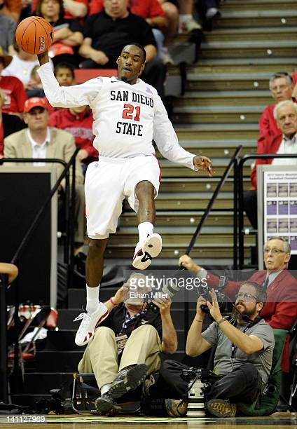 Jamaal Franklin of the San Diego State Aztecs saves the ball from going out of bounds during the championship game of the Conoco Mountain West...