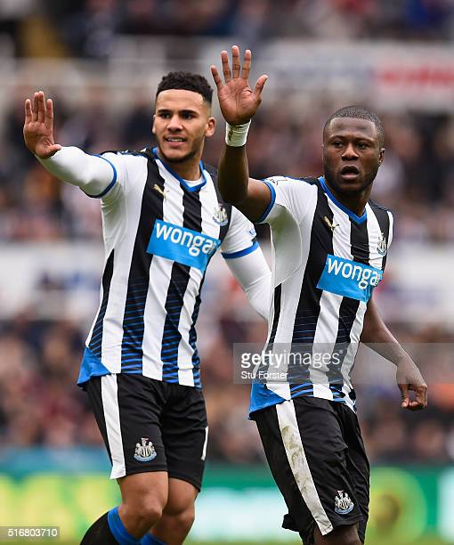 Jamaal Lascelles and Chancel Mbemba of Newcastle United react during the Barclays Premier League match between Newcastle United and Sunderland at St...