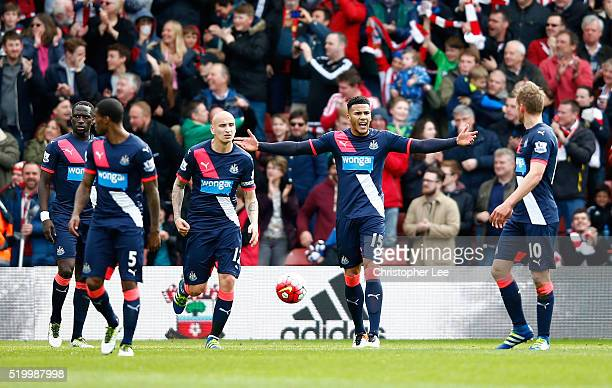 Jamaal Lascelles and Newcastle United players show their frustration after Southampton's third goal during the Barclays Premier League match between...