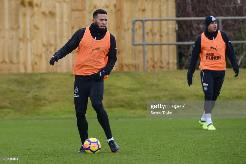 Jamaal Lascelles control's the ball during the Newcastle United Training session at The Newcastle United Training Centre on February 14, 2018, in Newcastle upon Tyne, England.