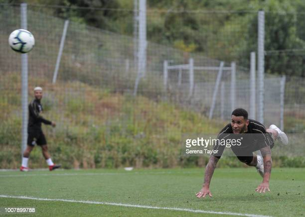 Jamaal Lascelles dives to head the ball during the Newcastle United Pre Season Training Session at the Sporting Clube de Braga on July 30 in Braga...