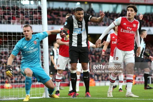 Jamaal Lascelles of Newcastle appeals after Arsenal goalkeeper Bernd Leno collides with him during the Premier League match between Arsenal FC and...