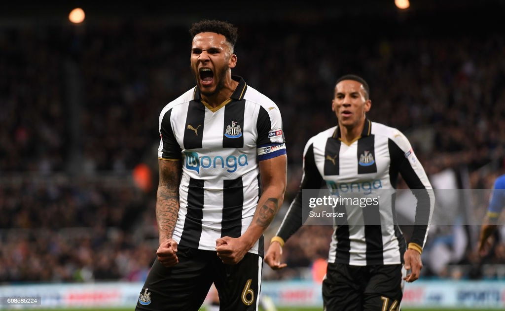 Jamaal Lascelles of Newcastle celebrates after scoring the first goal during the Sky Bet Championship match between Newcastle United and Leeds United at St James' Park on April 14, 2017 in Newcastle upon Tyne, England.