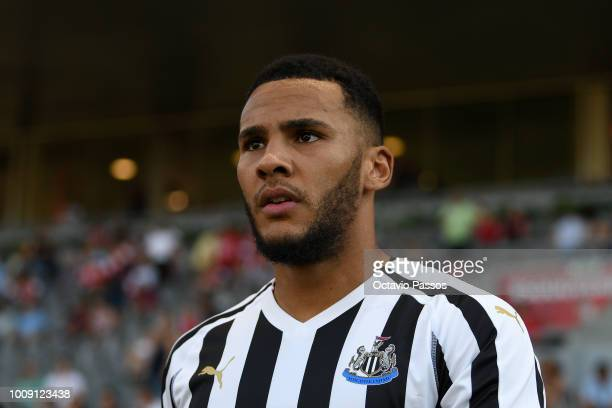 Jamaal Lascelles of Newcastle during the Preseason friendly between SC Braga and Newcastle on August 1 2018 in Braga Portugal