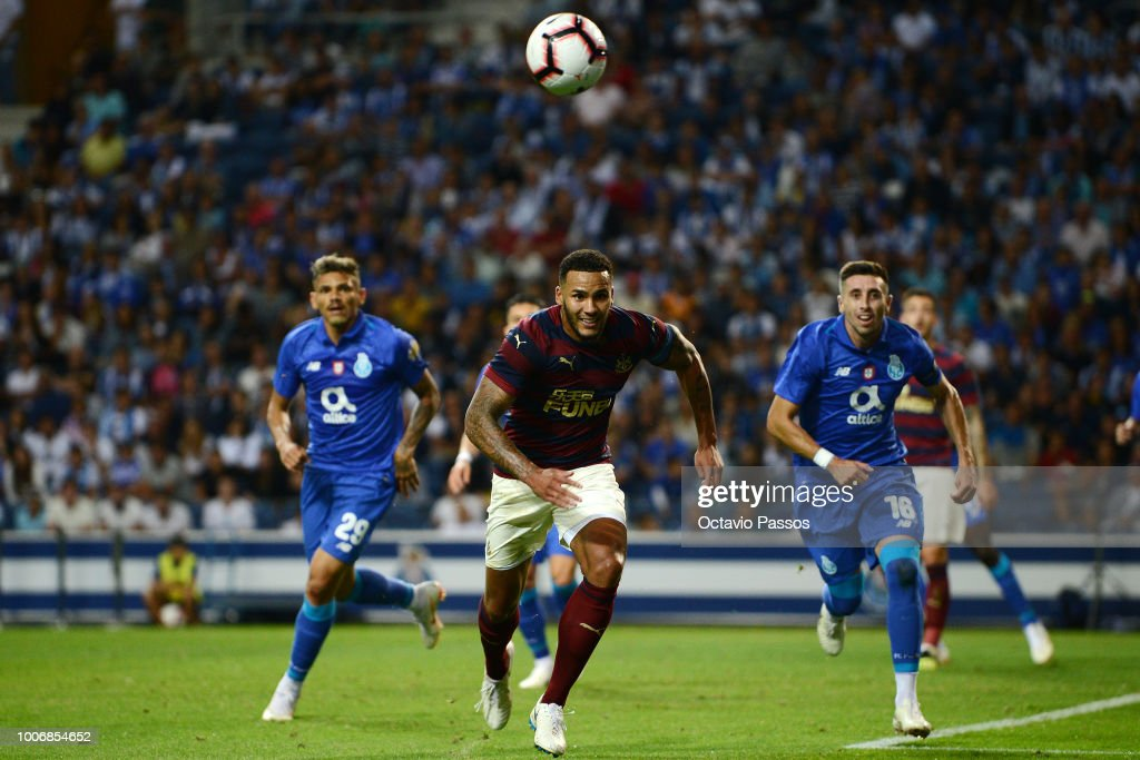 Jamaal Lascelles of Newcastle in action during the pre-season friendly match between FC Porto and Newcastle at Estádio do Drago on July 28, 2018 in Porto, Portugal.