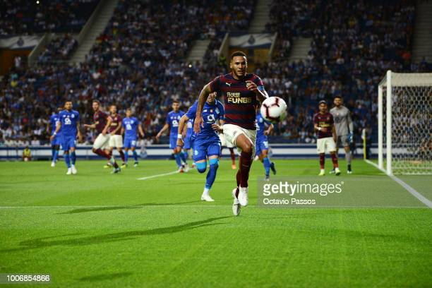Jamaal Lascelles of Newcastle in action during the preseason friendly match between FC Porto and Newcastle at Estádio do Drago on July 28 2018 in...