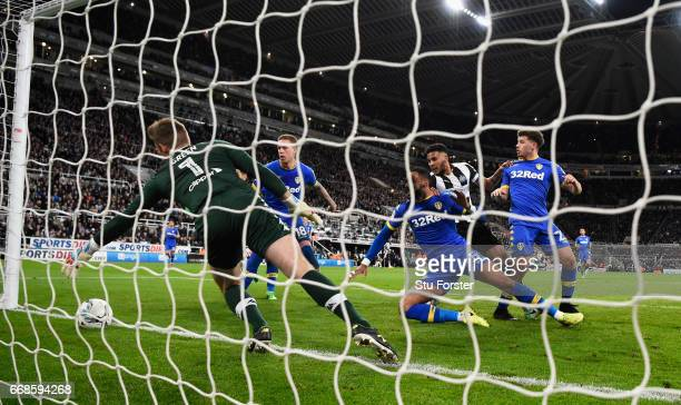 Jamaal Lascelles of Newcastle scores the first goal during the Sky Bet Championship match between Newcastle United and Leeds United at St James' Park...