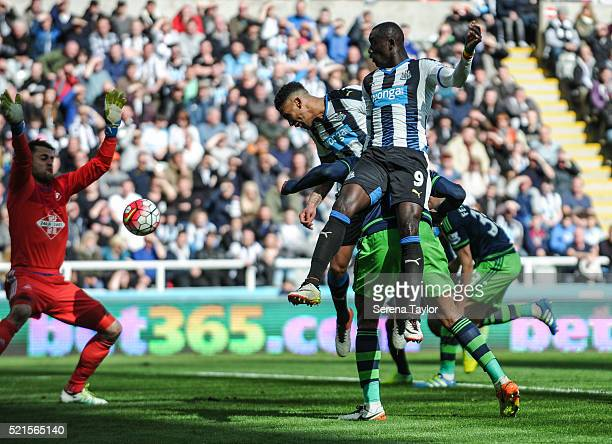 Jamaal Lascelles of Newcastle scores the opening goal during the Barclays Premier League match between Newcastle United and Swansea City at StJames'...