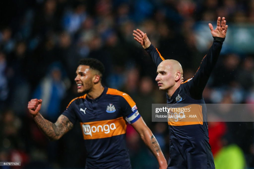 Jamaal Lascelles of Newcastle United and Jonjo Shelvey of Newcastle United celebrate after Dwight Gayle of Newcastle United scores a goal to make it 1-3 during the Sky Bet Championship match between Huddersfield Town and Newcastle United at John Smith's Stadium on March 4, 2017 in Huddersfield, England.