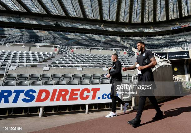 Jamaal Lascelles of Newcastle United arrives ahead of the Premier League match between Newcastle United and Tottenham Hotspur at St James Park on...