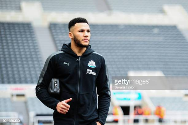 Jamaal Lascelles of Newcastle United arrives for the Premier League match between Newcastle United and Swansea City at StJames' Park on January 13 in...