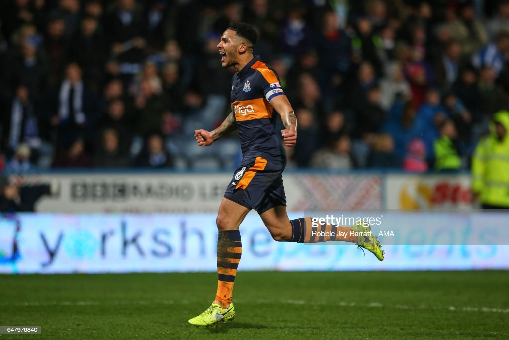 Jamaal Lascelles of Newcastle United celebrates after Dwight Gayle of Newcastle United scores a goal to make it 1-3 during the Sky Bet Championship match between Huddersfield Town and Newcastle United at John Smith's Stadium on March 4, 2017 in Huddersfield, England.