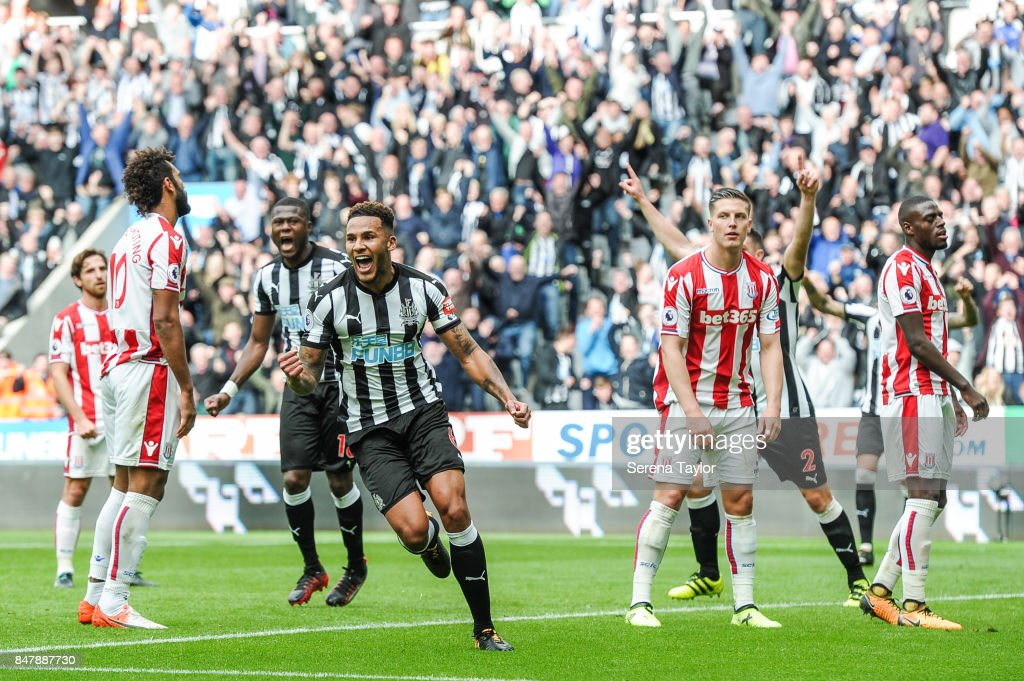 Jamaal Lascelles of Newcastle United (06) celebrates after he heads the ball to score Newcastle's second goal during the Premier League match between Newcastle United and Stoke City at St.James' Park on September 16, 2017, in Newcastle upon Tyne, England.