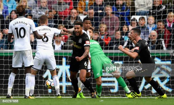 Jamaal Lascelles of Newcastle United celebrates after he scores his sides first goal during the Premier League match between Swansea City and...
