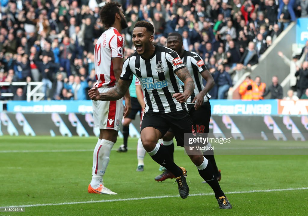 Jamaal Lascelles of Newcastle United celebrates after he scores the winning goal during the Premier League match between Newcastle United and Stoke City at St. James Park on September 16, 2017 in Newcastle upon Tyne, England.