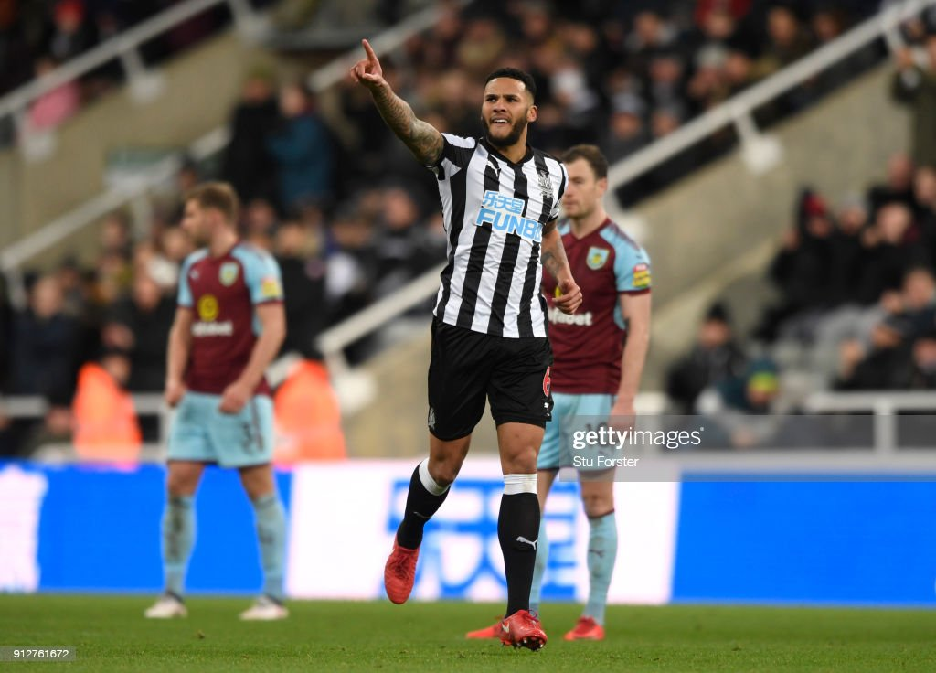 Jamaal Lascelles of Newcastle United celebrates after scoring his sides first goal during the Premier League match between Newcastle United and Burnley at St. James Park on January 31, 2018 in Newcastle upon Tyne, England.