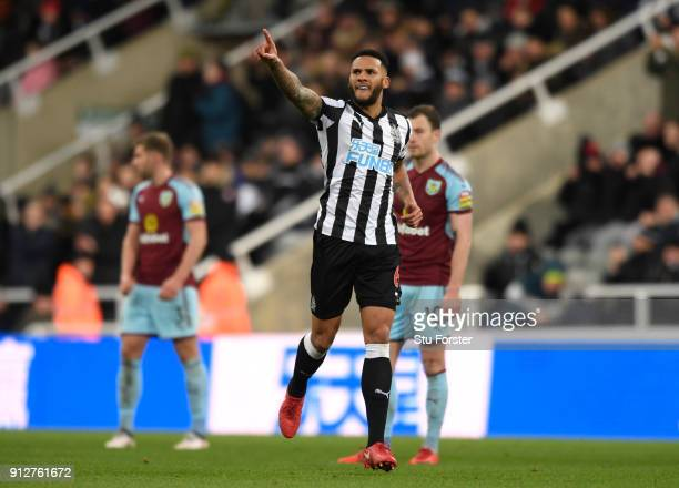 Jamaal Lascelles of Newcastle United celebrates after scoring his sides first goal during the Premier League match between Newcastle United and...