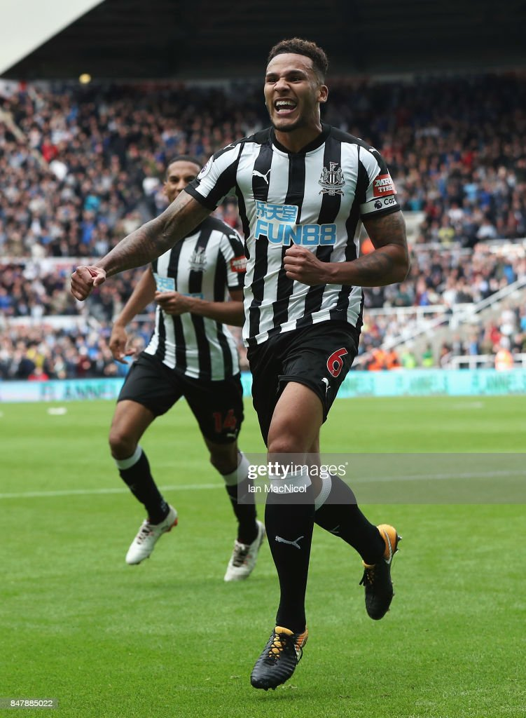 Jamaal Lascelles of Newcastle United celebrates scoring his sides second goal during the Premier League match between Newcastle United and Stoke City at St. James Park on September 16, 2017 in Newcastle upon Tyne, England.