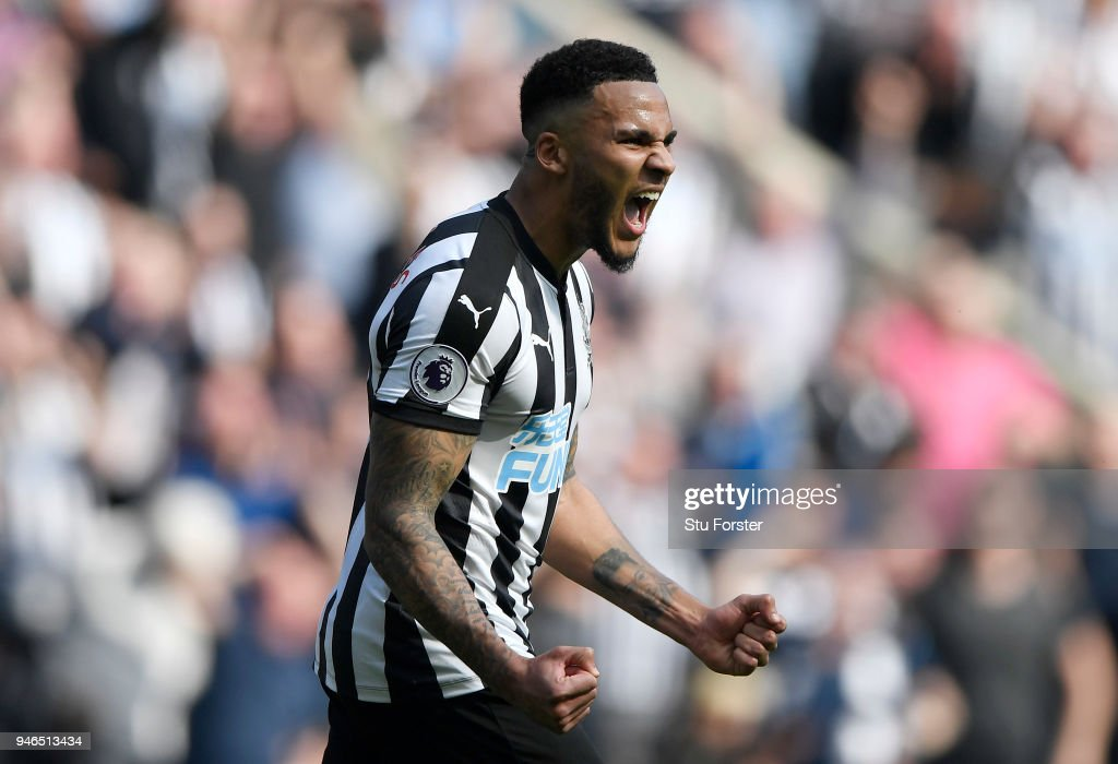 Jamaal Lascelles of Newcastle United celebrates victory after the Premier League match between Newcastle United and Arsenal at St. James Park on April 15, 2018 in Newcastle upon Tyne, England.