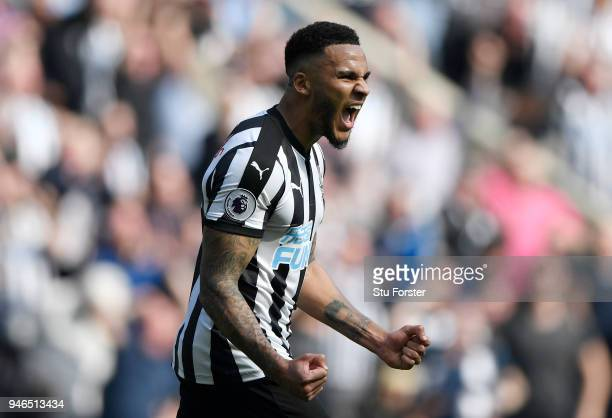 Jamaal Lascelles of Newcastle United celebrates victory after the Premier League match between Newcastle United and Arsenal at St James Park on April...