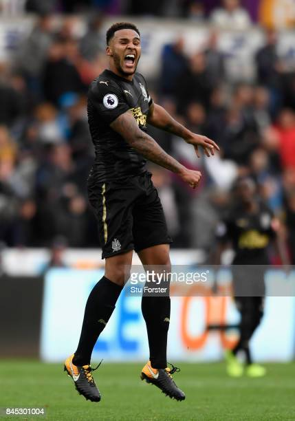 Jamaal Lascelles of Newcastle United celebrates victory during the Premier League match between Swansea City and Newcastle United at Liberty Stadium...