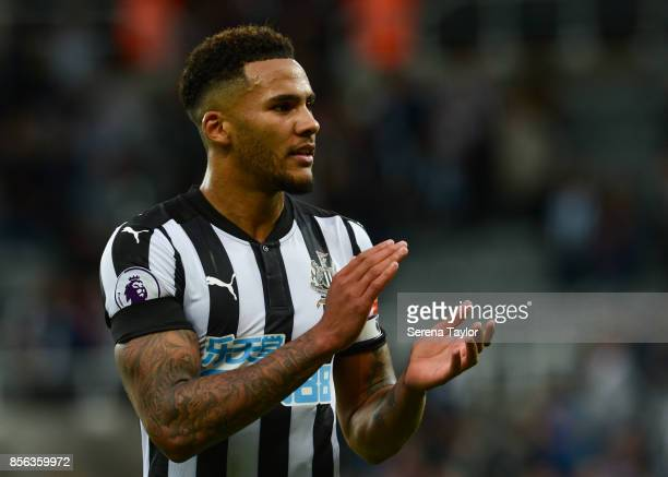 Jamaal Lascelles of Newcastle United claps the fans during the Premier League Match between Newcastle United and Liverpool at StJames' Park on...