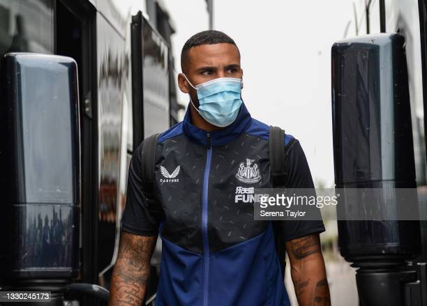 Jamaal Lascelles of Newcastle United FC arrives for the Pre Season Friendly between Doncaster Rovers and Newcastle United at the Keepmoat Stadium on...