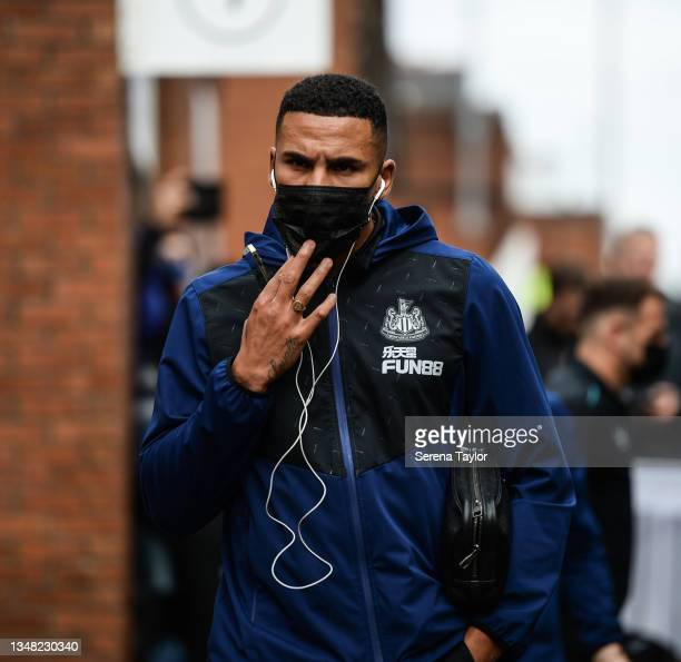 Jamaal Lascelles of Newcastle United FC arrives for the Premier League match between Crystal Palace and Newcastle United at Selhurst Park on October...