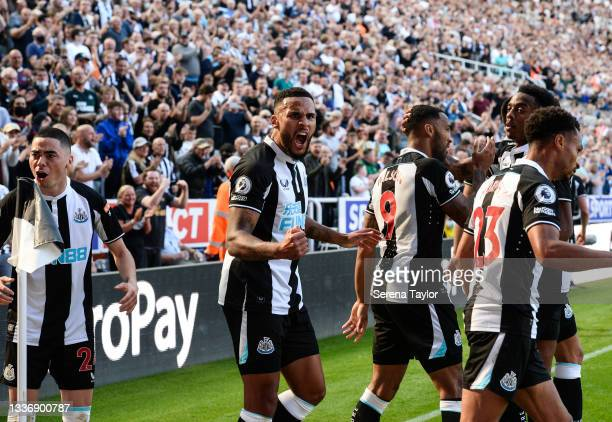 Jamaal Lascelles of Newcastle United FC celebrates after newcastle score during the Premier League match between Newcastle United and Southampton at...