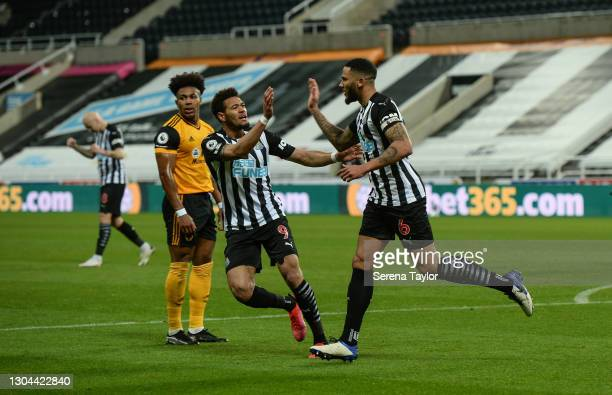Jamaal Lascelles of Newcastle United FC celebrates with Joelinton after scoring the opening goal during the Premier League match between Newcastle...