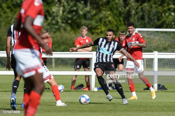 Jamaal Lascelles of Newcastle United FC controls the ball during the Pre Season Friendly between Newcastle United and Middlesbrough FC at the...