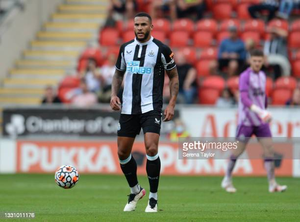Jamaal Lascelles of Newcastle United FC looks tp pass the ball during the Pre Season Friendly between Rotherham United and Newcastle United at...