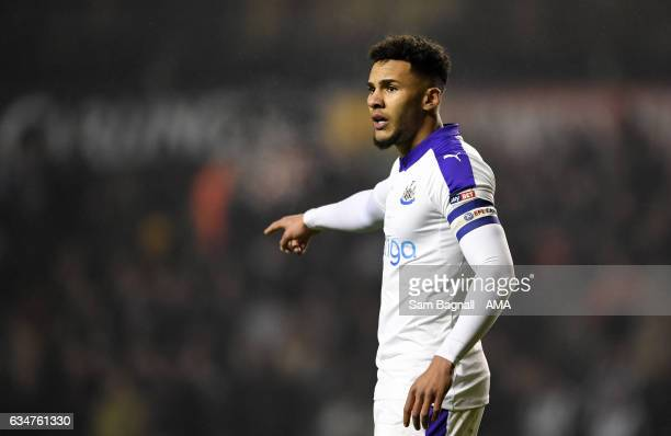 Jamaal Lascelles of Newcastle United gestures during the Sky Bet Championship match between Wolverhampton Wanderers and Newcastle United at Molineux...