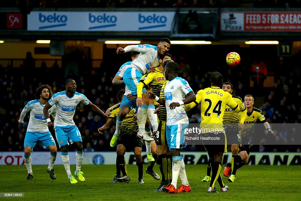 Jamaal Lascelles of Newcastle United heads the ball to score his team's first goal during the Barclays Premier League match between Watford and Newcastle United at Vicarage Road on January 23, 2016 in Watford, England