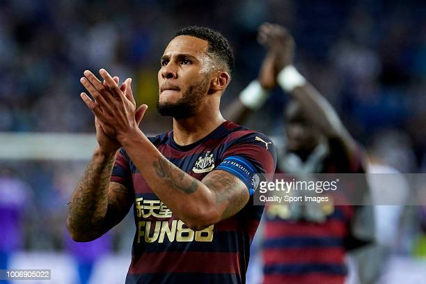 Jamaal Lascelles of Newcastle United reacts at the end of the Preseason friendly match between FC Porto and Newcastle at Estadio do Dragao on July 28...