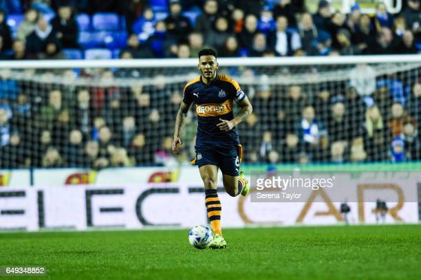 Jamaal Lascelles of Newcastle United runs with the ball during the Sky Bet Championship Match between Reading and Newcastle United at the Madjeski...