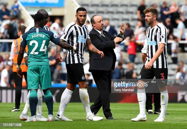 Jamaal Lascelles of Newcastle United Serge Aurier of Tottenham Hotspur and Paul Dummett of Newcastle United react after the Premier League match...