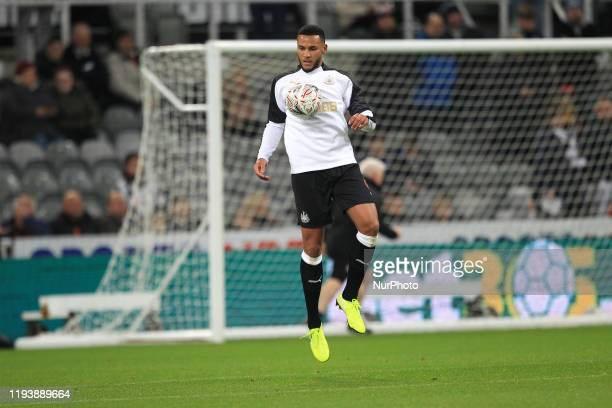 Jamaal Lascelles of Newcastle United warms up prior to the FA Cup match between Newcastle United and Rochdale at St James's Park Newcastle on Tuesday...
