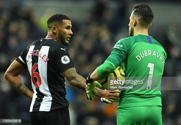 Jamaal Lascelles of Newcastle United with team mate Martin Dubravka at the final whistle during the Premier League match between Newcastle United and...