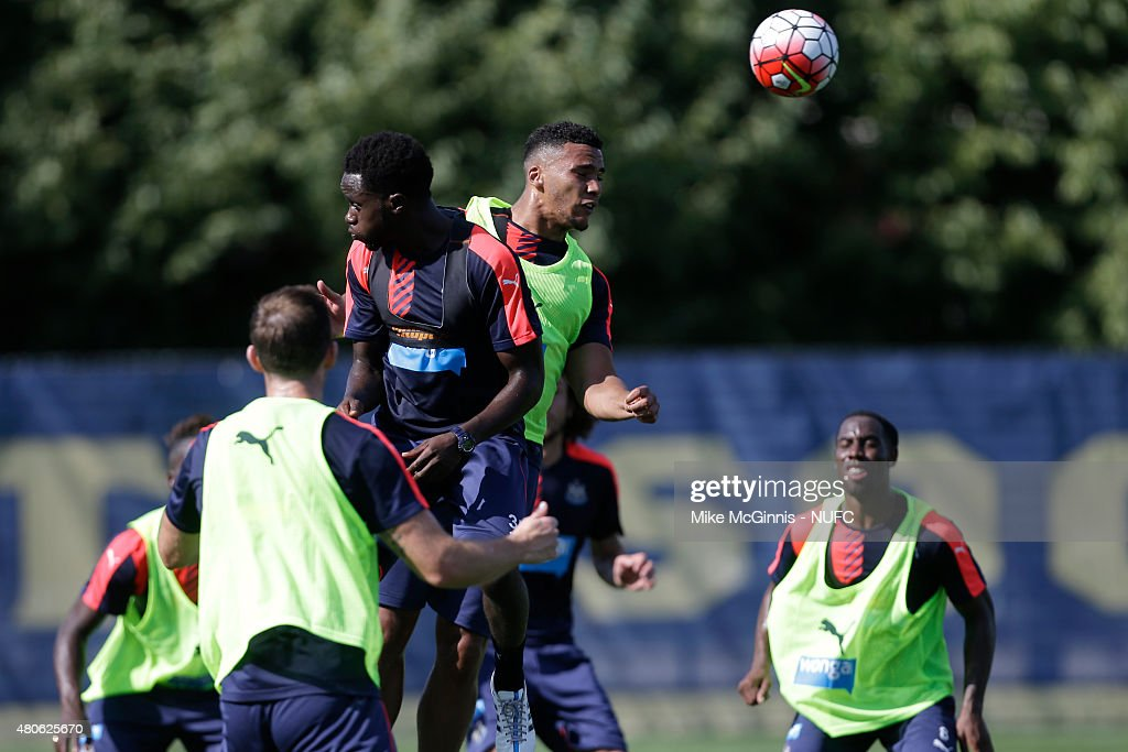 Jamaal Lascelles #15 of the Newcastle United runs through some drills during practice at Marquette University Valley Fields on July 13, 2015, in Milwaukee, Wisconsin.