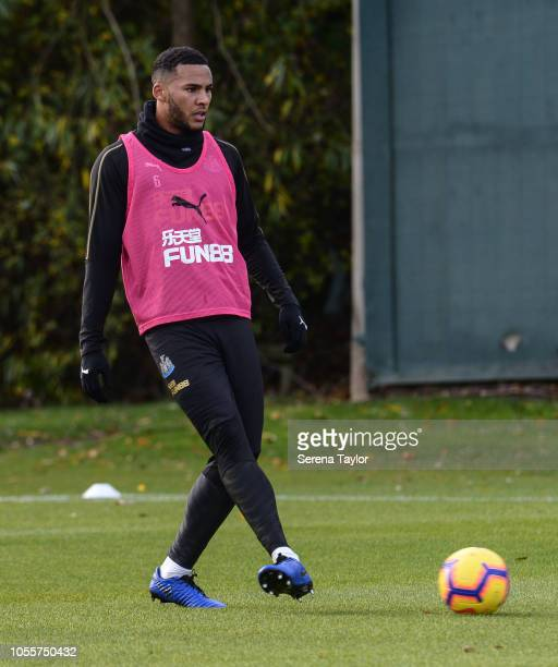 Jamaal Lascelles passes the ball during the Newcastle United Training Session at The Newcastle United Training Centre on October 31 in Newcastle upon...