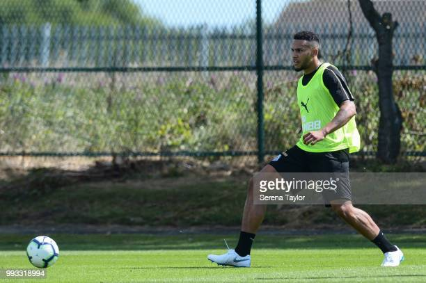 Jamaal Lascelles passes the ball during the Newcastle United Training Session at the Newcastle United Training Centre on July 7 in Newcastle upon...