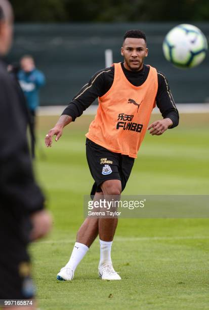Jamaal Lascelles passes the ball during the Newcastle United Training session at Carton House on July 12 in Kildare Ireland