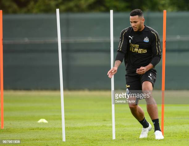 Jamaal Lascelles runs around training poles during the Newcastle United Training session at Carton House on July 13 in Kildare Ireland