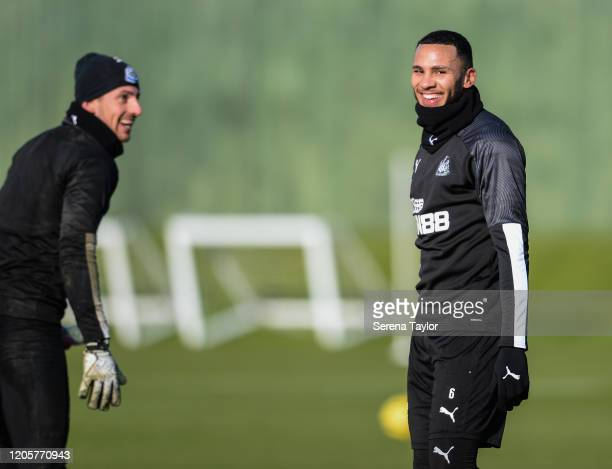 Jamaal Lascelles smiles as he shares a joke with teammate Martin Dúbravka during the Newcastle United Training Session at the Newcastle United...