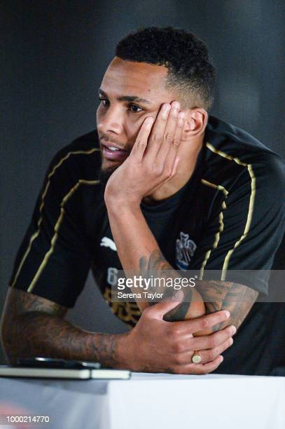 Jamaal Lascelles speaks to the media after the Newcastle United Training session at Carton House on July 16 in Kildare Ireland