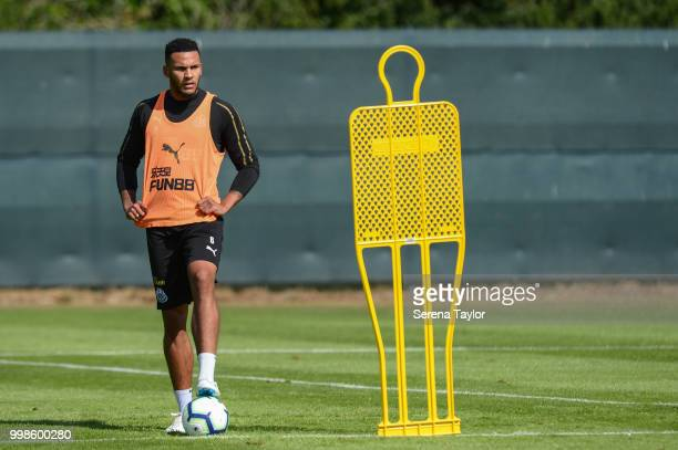 Jamaal Lascelles stands with his foot on the ball during the Newcastle United Training session at Carton House on July 14 in Kildare Ireland