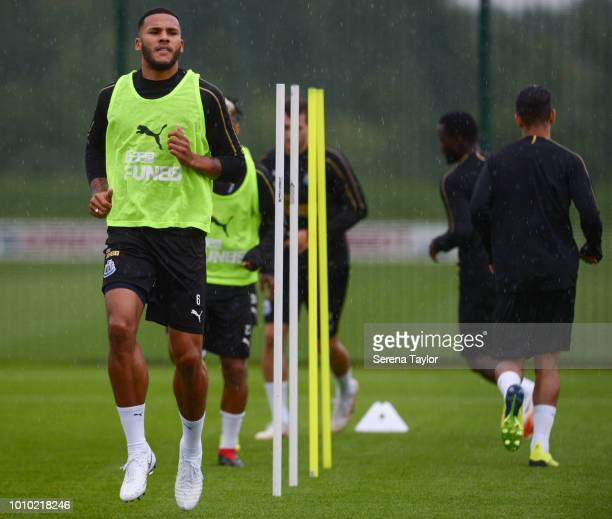 Jamaal Lascelles warms up during the Newcastle United Training Session at the Newcastle United Training Centre on August 3 in Newcastle upon Tyne...
