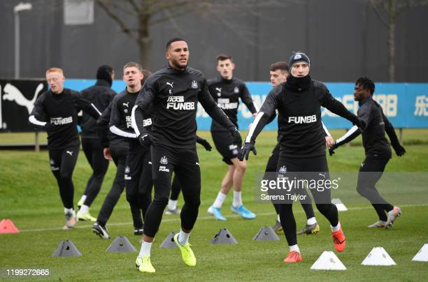 Jamaal Lascelles warms up during the Newcastle United Training Session at the Newcastle United Training Centre on January 13 2020 in Newcastle upon...