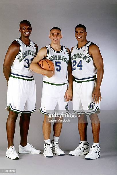 Jamaal Mashburn Jason Kidd and Jim Jackson of the Dallas Mavericks pose for a portrait circa 1995 NOTE TO USER User expressly acknowledges and agrees...